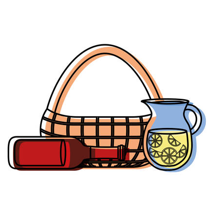 flat line colored  picnic  basket  beer bottle and jar juice   over white  background  vector illustration