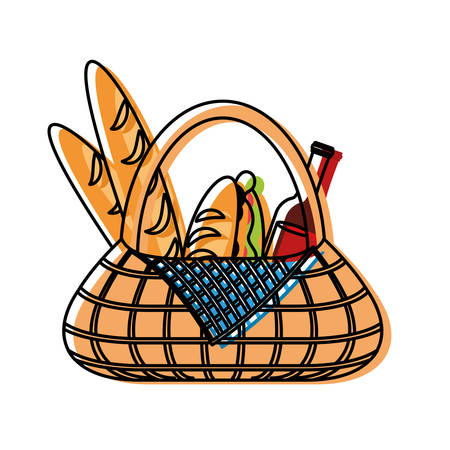 flat line  colored picnic basket  with   sandwich  bread  and  beer bottle over white  background  vector illustration
