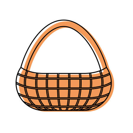 flat line colored picnic basket  over white  background  vector illustration