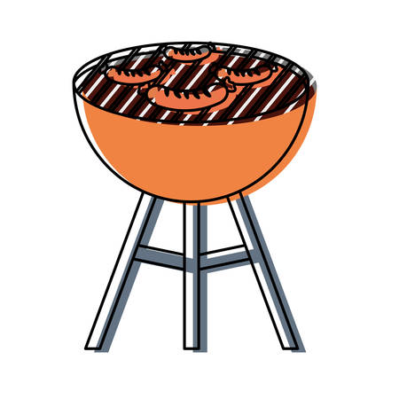Flat line colored barbecue grill with sausages over white illustration.