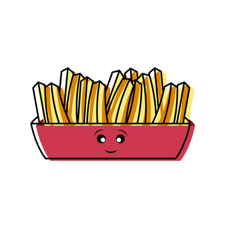 Flat line colored french fries cartoon character over white illustration.