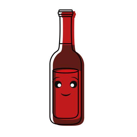 flat line colored kawaii beer bottle   over white background  vector illustration