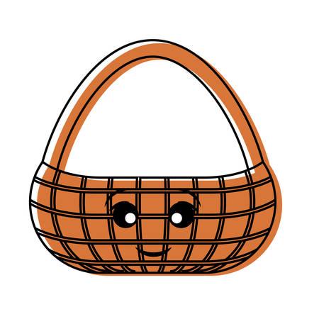 flat line colored  kawaii picnic basket over white background  vector illustration Illustration