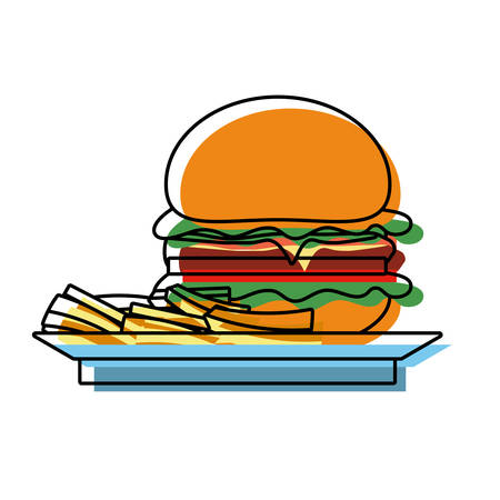 flat line colored  french fries and burguer on plate   over white background  vector illustration