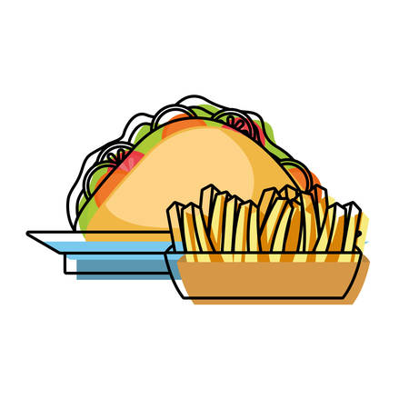 flat line colored  french fries and  sandwich on plate   over white background  vector illustration Çizim