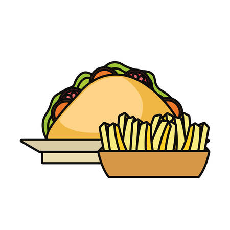 mexican taco and french fries icon over white background colorful design vector illustration Illustration