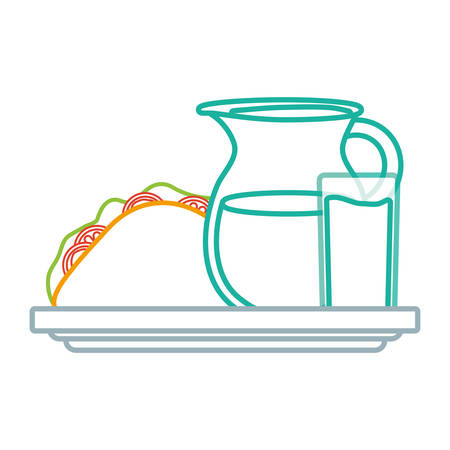 juice pitcher with mexican taco icon over white background colorful design vector illustration Ilustração