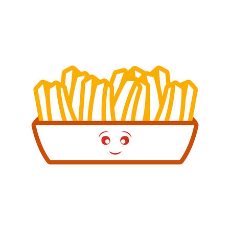 box with french fries over white background vector illustration