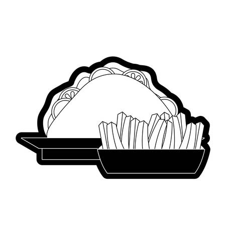 mexican taco and french fries icon over white background vector illustration