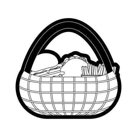 picnic basket with fast food over white background vector illustration