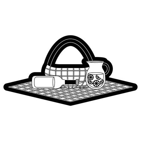Picnic tablecloth with basket and drinks over white illustration. Illustration