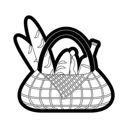 Picnic basket with bread and beer bottle over white illustration. Illustration