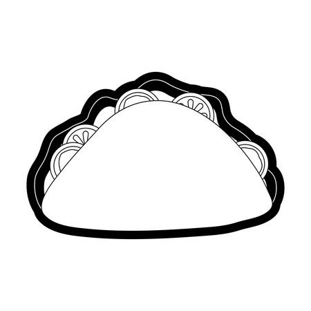 mexican taco icon over white background vector illustration Illustration