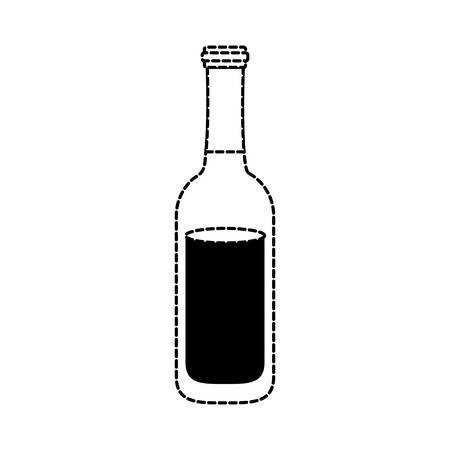flat line monochromatic beer bottle  sticker over white background vector illustration