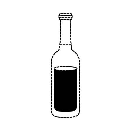 flat line monochromatic beer bottle  sticker over white background vector illustration