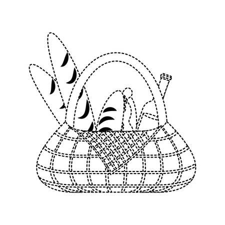 flat line uncolored picnic basket beer bottle  bread and sandwich   sticker over white background vector illustration