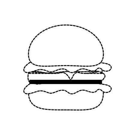 flat line monochromatic burguer sticker   over white background  vector illustration