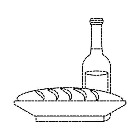 Flat line uncolored beer bottle and bread on plate sticker illustration.