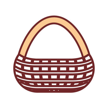 Flat line colored picnic basket over white  illustration.