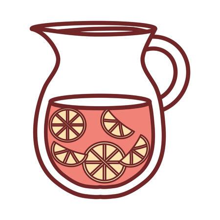 Flat line colored jar juice over white illustration. Çizim