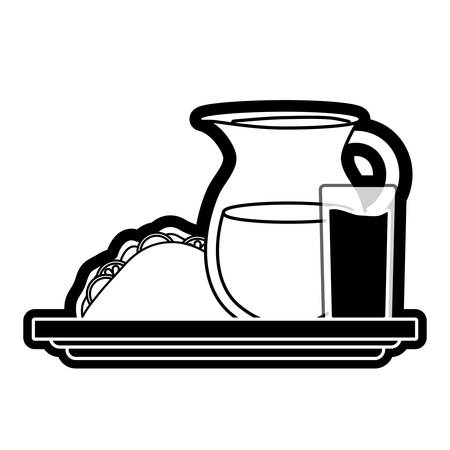 Flat line jar juice and sandwich over white illustration. Illustration