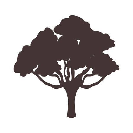 silhouette of tree icon over white background vector illustration