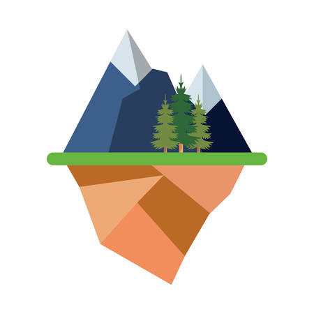 floating island with alps and trees landscape over white background colorful design vector illustration