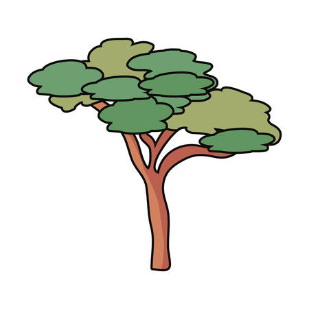 Green tree icon over white illustration. Illustration