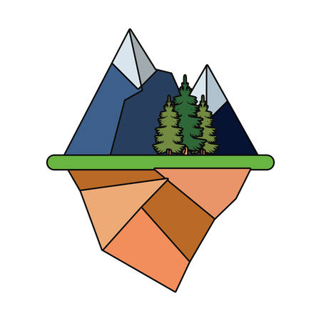 Floating island with alps and trees landscape over white illustration.