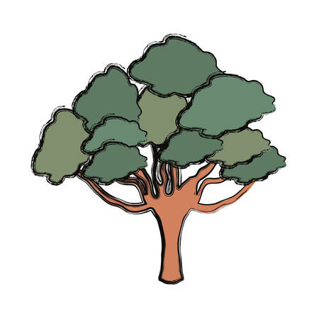Green tree icon over white background colorful design vector illustration.