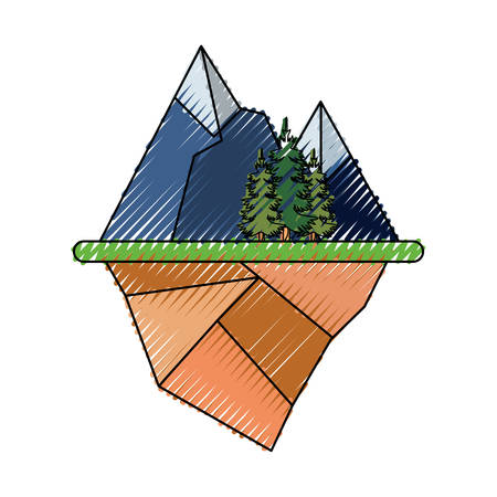 Floating island with alps and trees landscape over white background colorful design vector illustration.