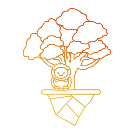 Floating island with trees and cute sheep icon design in red to orange ombre lines. Illustration