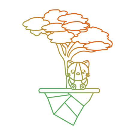 Floating island with trees and cute cat icon design in  orange to green ombre lines.
