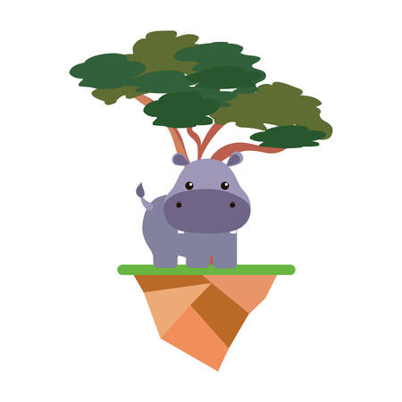 Floating island with trees and cute hipoppotamus icon in colorful design illustration. Ilustração