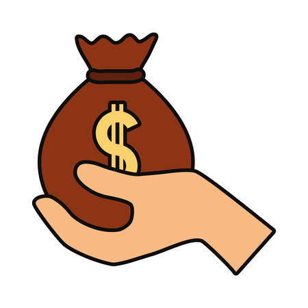 Hand holding money bag with dollar sign icon in colored cartoon design illustration.