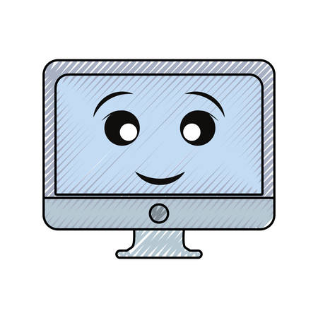 Cute computer monitor icon over white background illustration.