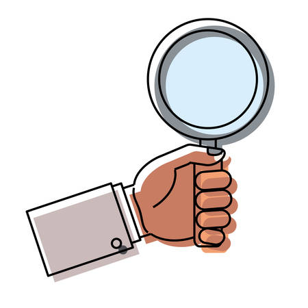 Hand holding a magnifying glass icon