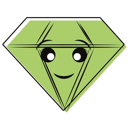 Cute diamond icon over white background. Colorful design illustration.