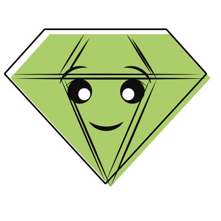 Cute diamond icon over white background. Colorful design illustration. Stock fotó - 92470687