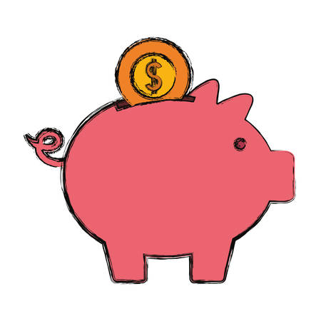 Money coin on a piggy bank icon over white background. Colorful design illustration.
