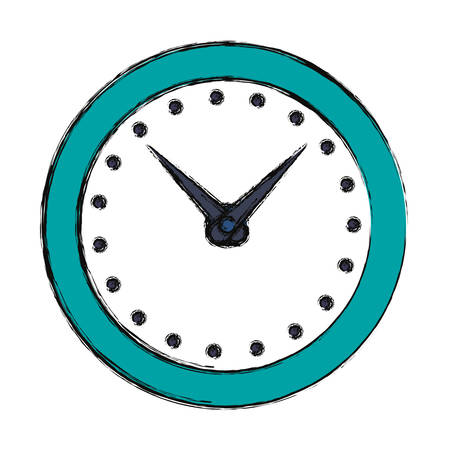 Wall clock icon over white background. Colorful design illustration.