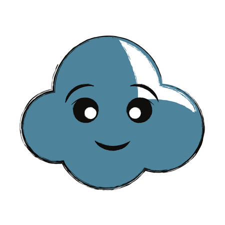 Cute cloud icon over white background. Colorful design illustration.