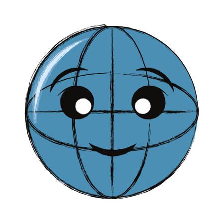 Global sphere icon over white background. Colorful design illustration. Vettoriali
