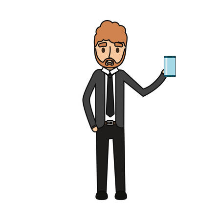 Cartoon businessman holding a smartphone icon over white background colorful design vector illustration