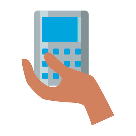 Hand holding a calculator icon over white background vector illustration Illustration