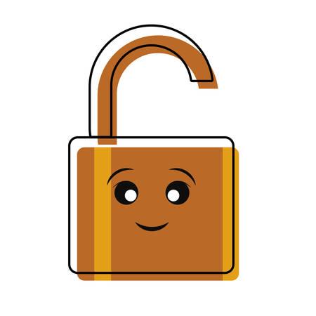 Open padlock icon over white background vector illustration Illustration