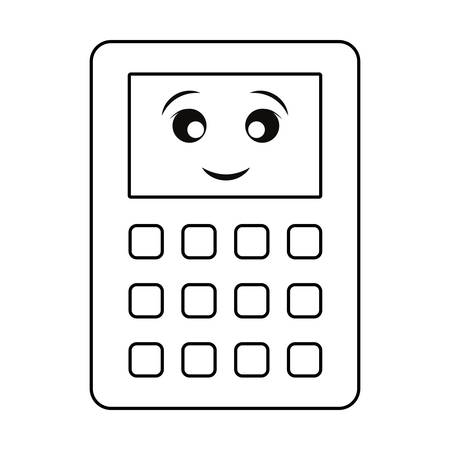 kawaii calculator icon over white background vector illustration