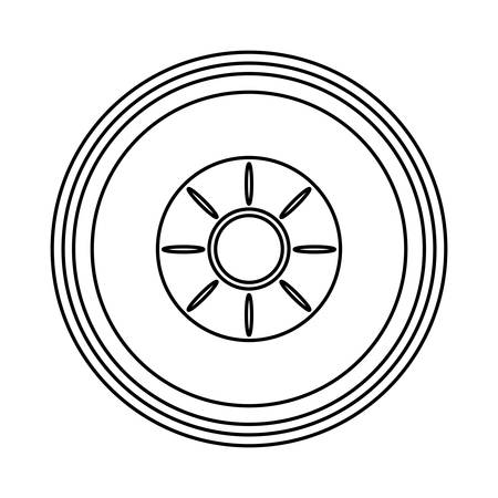 Car tire icon over white background vector illustration