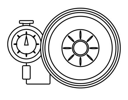 A tire gauge measuring the tire pressure over white background vector illustration