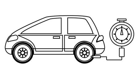 A tire gauge measuring the tire pressure of a car over white background vector illustration